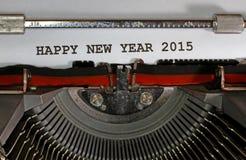 Szczęśliwy nowego roku 2015 maszyna do pisania Zdjęcia Stock