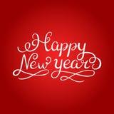 Szczęśliwy nowego roku muśnięcia ręki literowanie, odizolowywający na białym tle również zwrócić corel ilustracji wektora Może uż Obraz Royalty Free