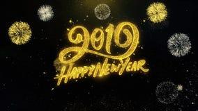 Szczęśliwy 2019 nowego roku pisać złociste cząsteczki Wybucha fajerwerku pokazu