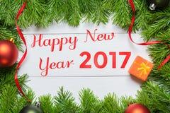 Szczęśliwy nowego roku 2017 pojęcie Bożenarodzeniowa jedlinowego drzewa dekoracja Zdjęcie Stock