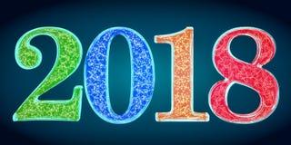 Szczęśliwy nowego roku 2018 pojęcie, 3D rendering na czerń plecy Obrazy Stock