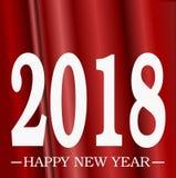 Szczęśliwy nowego roku powitania 2018 biel z 3D zasłony tła złudzenia Czerwonego skutka gradientów 3D złudzenia Ilustracyjną prze ilustracji