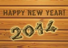 Szczęśliwy nowego roku powitanie dla 2014 zdjęcia royalty free