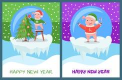 Szczęśliwy nowego roku prosiaczek Dekoruje Wiecznozielonego drzewa ilustracji