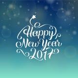 Szczęśliwy nowego roku 2017 ręki literowania tekst karcianych dzień powitania irysów macierzysty s wektor Zdjęcie Stock