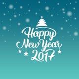 Szczęśliwy nowego roku 2017 ręki literowania tekst karcianych dzień powitania irysów macierzysty s wektor również zwrócić corel i Zdjęcia Stock