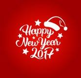 Szczęśliwy nowego roku 2017 ręki literowania tekst karcianych dzień powitania irysów macierzysty s wektor również zwrócić corel i Fotografia Royalty Free