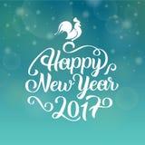 Szczęśliwy nowego roku 2017 ręki literowania tekst karcianych dzień powitania irysów macierzysty s wektor również zwrócić corel i Obrazy Stock