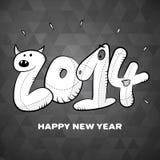 Szczęśliwy nowego roku 2014 ręki rysunkowej karty plakat Fotografia Stock
