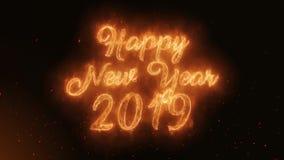 Szczęśliwy nowego roku 2019 słowo Pali Realistycznych Pożarniczych płomienie Iskrzy ciągłego płynnie lop royalty ilustracja