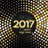 Szczęśliwy 2017 nowego roku shimmer abstrakcjonistyczny złoty round tło ilustracji