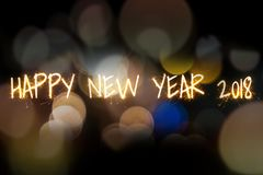 Szczęśliwy nowego roku sprkler światło na Aabstract bokeh tle Zdjęcia Royalty Free
