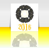 Szczęśliwy nowego roku 2016 symbol z kaligraficznym projektem na abstrakcjonistycznym tle Fotografia Royalty Free