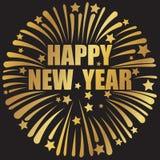 Szczęśliwy nowego roku sztandar z fajerwerkiem ilustracji