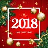 Szczęśliwy nowego roku 2018 sztandar z sosen gałąź dekorował, złota st Fotografia Stock