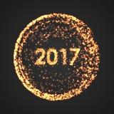Szczęśliwy nowego roku 2017 tło Kalendarzowa dekoracja 2007 pozdrowienia karty szczęśliwych nowego roku Cząsteczki round ilustrac ilustracja wektor