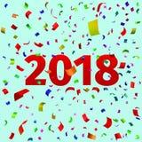 Szczęśliwy nowego roku 2018 tło z confetti Obrazy Royalty Free
