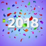 Szczęśliwy nowego roku 2018 tło z confetti Zdjęcia Royalty Free