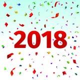 Szczęśliwy nowego roku 2018 tło z confetti Zdjęcia Stock