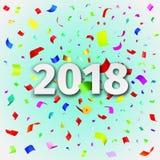 Szczęśliwy nowego roku 2018 tło z confetti Zdjęcie Royalty Free