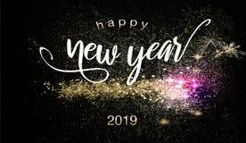 Szczęśliwy nowego roku 2019 tło z sparklers obrazy royalty free