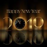 Szczęśliwy nowego roku tło z zegarową twarzą royalty ilustracja
