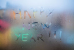 Szczęśliwy nowego roku tekst Zdjęcie Stock