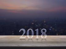 Szczęśliwy nowego roku 2018 tekst na drewnianym stole Fotografia Royalty Free