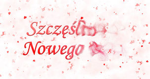 Szczęśliwy nowego roku tekst w Polskim Szczesliwego Nowego Rok obraca t Zdjęcie Stock