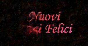 Szczęśliwy nowego roku tekst w włoszczyzny Nuovi anni felici zwrotach pył Zdjęcia Stock