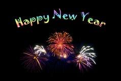 Szczęśliwy nowego roku tekst z kolorowymi fajerwerkami ilustracji