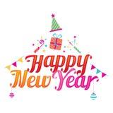 Szczęśliwy nowego roku tekst z Partyjnymi ikonami royalty ilustracja
