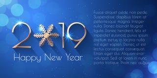 Szczęśliwy nowego roku teksta 2019 projekt ilustracja wektor