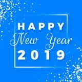 Szczęśliwy nowego roku teksta 2019 projekt Kartka z pozdrowieniami z białym płatkiem śniegu na błękitnym tle i tekstem Wakacyjna  obrazy royalty free