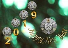 Szczęśliwy 2019 nowego roku unikalny tworzenie z zegarem fotografia royalty free