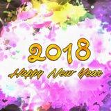 Szczęśliwy nowego roku 2018 Watercolor/ Zdjęcie Royalty Free