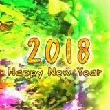 Szczęśliwy nowego roku 2018 Watercolor/ Zdjęcie Stock