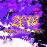 Szczęśliwy nowego roku 2018 Watercolor/ Obrazy Royalty Free