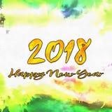 Szczęśliwy nowego roku 2018 Watercolor/ Zdjęcia Royalty Free