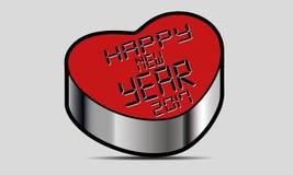 Szczęśliwy 2017 nowego roku Wektorowy serce Zdjęcie Stock