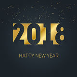 Szczęśliwy 2018 nowego roku wektorowy tło z złocistymi błyskotliwość confetti Fotografia Royalty Free