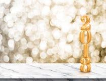 Szczęśliwy 2018 nowego roku złocisty glansowany 3d rendering na marmuru stole Zdjęcie Royalty Free
