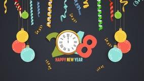 Szczęśliwy nowego roku 2018 złota i confetti zegarowy świętowanie Colorfull powitania dekoracja Obraz Royalty Free