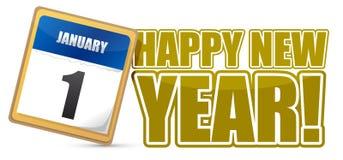 Szczęśliwy nowego roku znaka kalendarz royalty ilustracja
