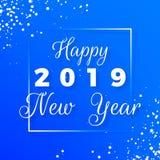 szczęśliwy nowy pocztówkowy rok Szczęśliwy nowego roku teksta 2019 projekt Kartka z pozdrowieniami z białym tekstem w ramie i pła fotografia stock