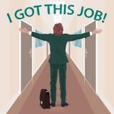 Szczęśliwy nowy pracownik cieszy się dostawać praca ilustracja wektor