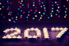 Szczęśliwy nowy rok 2017 - świąteczne świeczki Fotografia Stock
