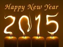 Szczęśliwy nowy rok 2015 - świeczki Fotografia Royalty Free