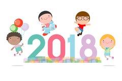 Szczęśliwy nowy rok 2018 żartuje tło, szczęśliwy dziecko z Szczęśliwym nowym rokiem 2018, psi ` s, Kolorowa Wektorowa ilustracja royalty ilustracja