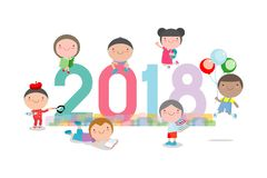 Szczęśliwy nowy rok 2018 żartuje tło, szczęśliwy dziecko z Szczęśliwym nowym rokiem 2018, psi ` s, Kolorowa Wektorowa ilustracja ilustracja wektor